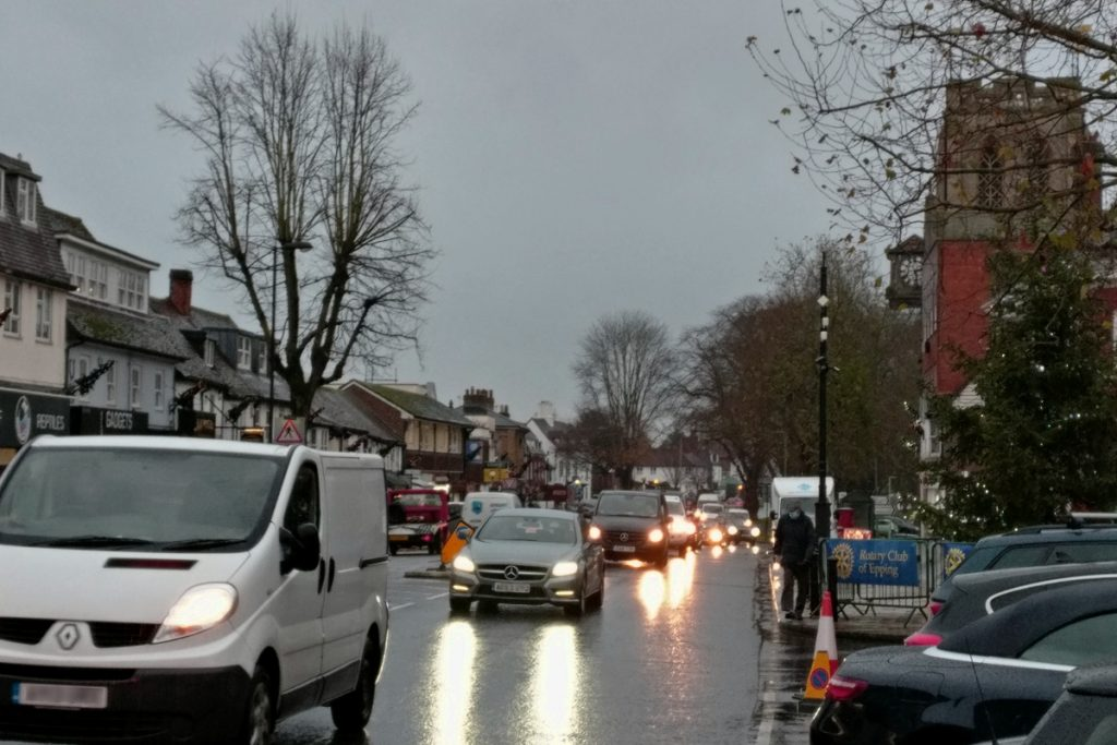View of Epping High St on a wet, grey December day